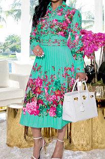 Mint Green Fashion Positioning Print Spliced Long Sleeve Lapel Neck Side Stealth Zipper Shirt Swing Dress WY6848-3