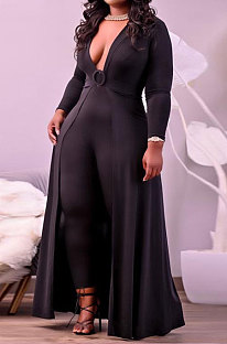 Black Women Pure Color Casual V Collar Tight Skinny Mid Waist Plus Jumpsuit CCY1689-2