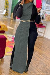 Gray Women High Collar Mid Waist Sleeveless Pure Color Pullover Split Long Dress K066-2