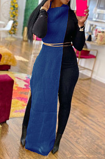Blue Women High Collar Mid Waist Sleeveless Pure Color Pullover Split Long Dress K066-5