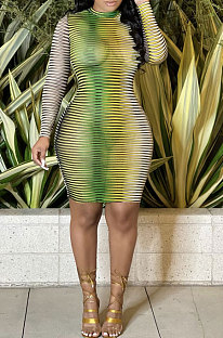 Green Sexy Euramerican Fashion Printing Round Collar Mid Waist Long Sleeve Mini Dress KA7201-1