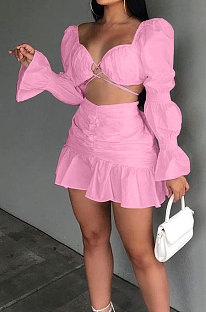 Pink Sexy Cute Lantern Sleeve Strapless High Waist Ruffle Mini Skirts Solid Color Sets ALS267-5