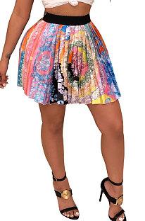 Colorful Women Fashion Printing Ruffle Skirts BM7145-1