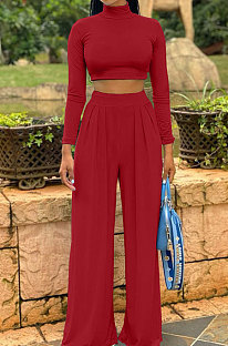 Wine Red Cotton Blend Casual Long Sleeve High Neck Crop Tops Wide Leg Pants Fashion Sets ALS268-5