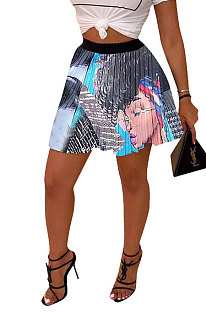 Gray Blue Women Fashion Printing Ruffle Skirts BM7145-4