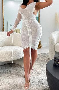 White Sexy Euramerican Fashion Deep V Collar Bodycon Pure Color High Waist One Shoulder Mini Dress KA7205