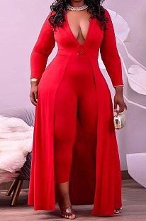 Red Women Pure Color Casual V Collar Tight Skinny Mid Waist Plus Jumpsuit CCY1689-1