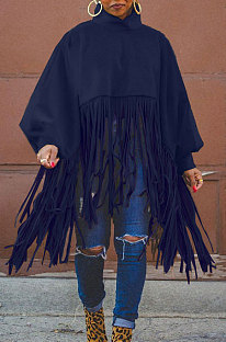 Dark Blue Euramerican Trendy Solid Color Long Sleeve Round Collar Tassel Plus Size Tops K2210-5