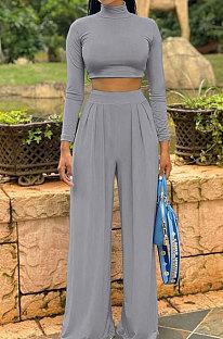 Grey Cotton Blend Casual Long Sleeve High Neck Crop Tops Wide Leg Pants Fashion Sets ALS268-1