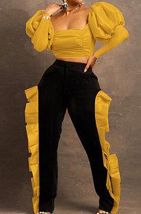 Orange Yellow Wholesale Sexy Puff Sleeve Low-Cut Back Bowknot Crop Tops Ruffle Pants Sets SZS8179-2