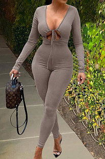 Grey Cotton Blend Casual Long Sleeve Tide Collect Waist Solid Color Bodycon Jumpsuits SXS6072-2
