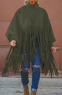 Army Green Euramerican Trendy Solid Color Long Sleeve Round Collar Tassel Plus Size Tops K2210-4