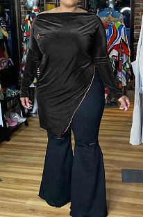 Black Big Yrads Irregularity Velvet Long Sleeve Zipper Fat Women Tops HY007-2