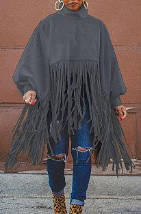 Dark Gray Euramerican Trendy Solid Color Long Sleeve Round Collar Tassel Plus Size Tops K2210-6