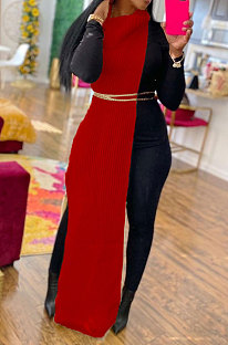Red Women High Collar Mid Waist Sleeveless Pure Color Pullover Split Long Dress K066-1