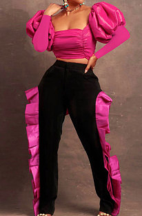 Rose Red Wholesale Sexy Puff Sleeve Low-Cut Back Bowknot Crop Tops Ruffle Pants Sets SZS8179-3