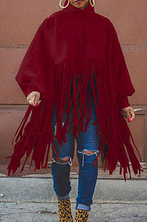 Wine Red Euramerican Trendy Solid Color Long Sleeve Round Collar Tassel Plus Size Tops K2210-3