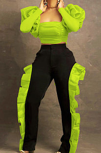 Neon Green Wholesale Sexy Puff Sleeve Low-Cut Back Bowknot Crop Tops Ruffle Pants Sets SZS8179-1