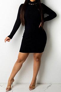 Black Euramerican Sexy Women Ribber Solid Color Round Collar Backless Mini Dress KA7203-2