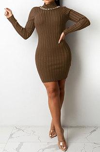 Brown Euramerican Sexy Women Ribber Solid Color Round Collar Backless Mini Dress KA7203-1