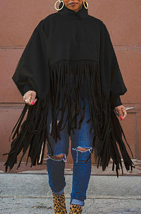 Black Euramerican Trendy Solid Color Long Sleeve Round Collar Tassel Plus Size Tops K2210-2