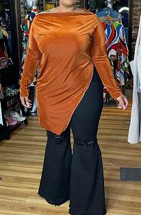 Orange Big Yrads Irregularity Velvet Long Sleeve Zipper Fat Women Tops HY007-1