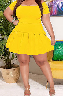 Yellow Women Solid Color Trendy Casual Joket Skinny Short Sleeve Tops Ruffle Skirts Sets CCY1682