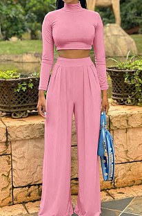 Pink Cotton Blend Casual Long Sleeve High Neck Crop Tops Wide Leg Pants Fashion Sets ALS268-3