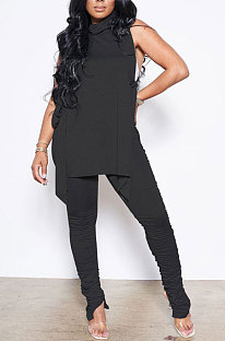 Black Personality Pure Color Sleeveless High Neck Tops Ruffle Trousers Casual Sets YYF8247-2