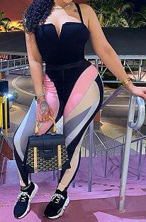 Black Women Trendy Printing Stripe Condole Belt Tight Mid Waist Sport Jumpsuits PU6098