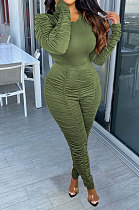 Army Green Casual Modest Women Long Sleeve O Neck T-Shirts Pencil Pants Ruffle Solid Color Sets TRS1183-2