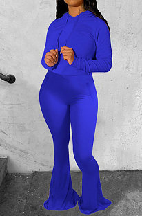 Peacock Blue Wholesale Cotton Blend Long Sleeve Hoodie Flare Pants Slim Fitting Solid Color Sets YYF8249-5