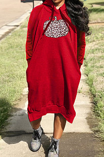 Red Cotton Blend Casual Halloween Pattern Printing Loose Long Sleeve Hooded Slit T-Shirts Long Dress H1735-3