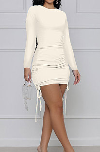 Cream White Cotton Blend Simple Long Sleeve Drawsting Solid Color Slim Fitting Hip Dress SMR10606-2
