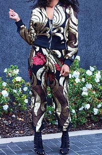 Blue Women Cardigan Zipper Long Sleeve Fashion Sequins Coat Pants Sets CCY8236