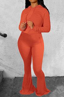 Orange Wholesale Cotton Blend Long Sleeve Hoodie Flare Pants Slim Fitting Solid Color Sets YYF8249-6