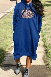 Blue Cotton Blend Casual Halloween Pattern Printing Loose Long Sleeve Hooded Slit T-Shirts Long Dress H1735-4