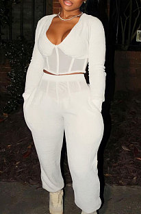 White Sexy Mesh Spliced Long Sleeve V Neck Tops Loose Ankle Banded Pants Casual Sets YYF8254-2
