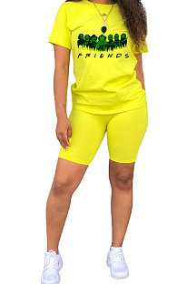 All Saints' Day Euramerican Women Printing Short Sleeve Round Collar Shorts Sets QQM2018
