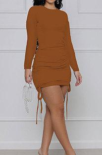 Brown Cotton Blend Simple Long Sleeve Drawsting Solid Color Slim Fitting Hip Dress SMR10606-3