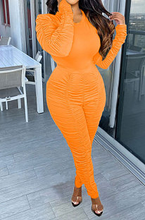 Orange Casual Modest Women Long Sleeve O Neck T-Shirts Pencil Pants Ruffle Solid Color Sets TRS1183-4