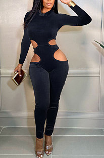 Black Women Fashion Hollw Out Solid Color Long Sleeve Mid Waist Bodycon Jumpsuits PU6099-2