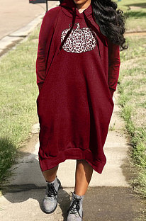 Wine Red Cotton Blend Casual Halloween Pattern Printing Loose Long Sleeve Hooded Slit T-Shirts Long Dress H1735-2