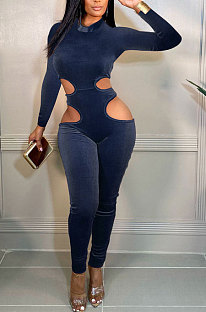 Blue Women Fashion Hollw Out Solid Color Long Sleeve Mid Waist Bodycon Jumpsuits PU6099-3