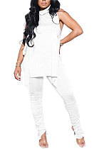 White Personality Pure Color Sleeveless High Neck Tops Ruffle Trousers Casual Sets YYF8247-1