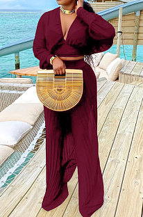 Wine Red Newest Chiffon Long Sleeve Deep V Collar Crop Blouse High Waist Wide Leg Pants Two-Piece SZS8185-1