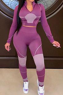 Purple Wholesale Ribber Digital Print Long Sleeve Zipper Stand Neck Crop Tops Pencil Pants Casual Sets SZS8187-1