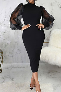 Black Wholesale New Mesh Spliced Puff Sleeve O Neck Collect Waist For Party Pencil Dress SMR10564-3