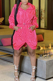 Rose Red Women Fashion Split Wind Coat Cloth Pure Color Mid Waist Hooded Zipper Mini Dress GL6512-1