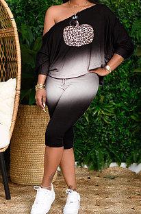 Black Simple New Halloween  Pattern Printing Long Sleeve Oblique Shoulder Loose Tops Cropped Pants Sets H1732-3